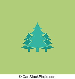 Tree, Christmas fir tree Colorful vector icon Simple retro...