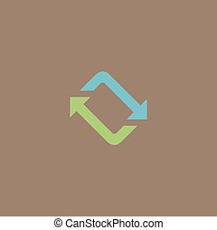 Spinning, rotating arrows Colorful vector icon Simple retro...