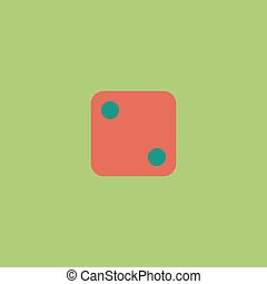 One dices - side with 2 Colorful vector icon Simple retro...