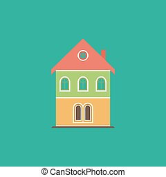 house flat icon - Simple old house. Colorful vector icon....