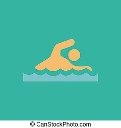 Swimming flat icon - Swimming Colorful vector icon Simple...