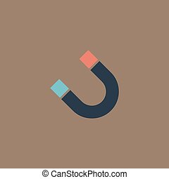 Magnet flat icon - Magnet Colorful vector icon Simple retro...