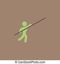Pole vault athlete Colorful vector icon Simple retro color...
