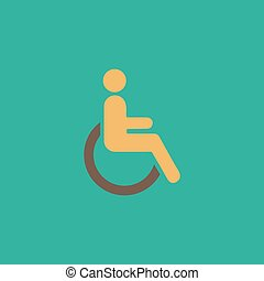 disabled flat icon - Disabled Colorful vector icon Simple...