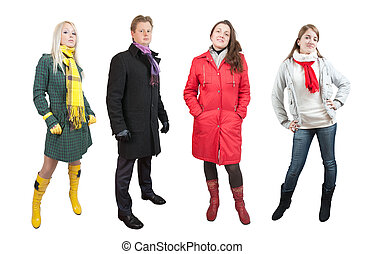 People in wintry clothes and shoes. Isolated with clipping...