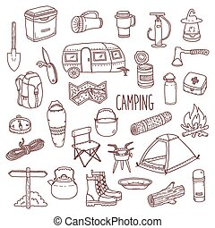 Camping vector hand drawn contour icon set - Camping vector...