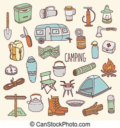 Camping vector hand drawn colorful icon set - Camping vector...