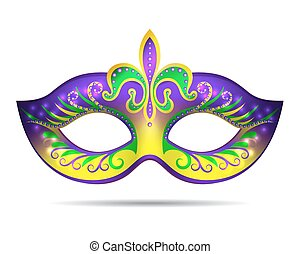 Mardi Gras mask isolated on white. Vector illustration