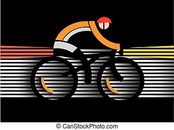 Bicycle safety in the dark - Abstract stylized cyclist in...