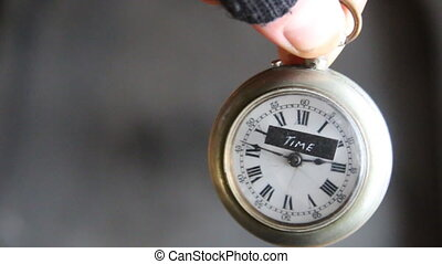 Time text old pocket watch - Time written by hand and the...