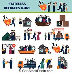 Stateless refugees icons set with illigal immigrants...