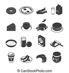 Breakfast Icon Set - Breakfast food and drinks icon set with...
