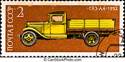 postage stamp shows vintage car - USSR - CIRCA 1974: postage...