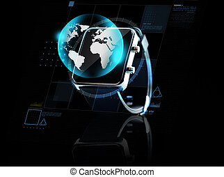 close up of smart watch with earth globe