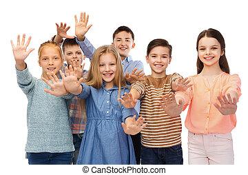 happy children waving hands - childhood, fashion, gesture...