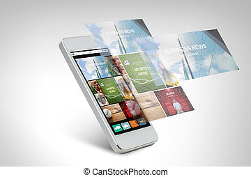 smarthphone with news web page on screen - technology,...