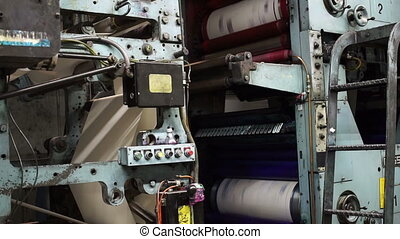 Offset Press Cyan Magenta Drums - Locked down shot showing...