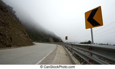 Mountian Road Misty Fog Dangers - Fog rolls in on a high...