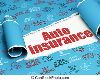 Insurance concept: red text Auto Insurance under the piece...