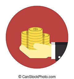 Coins on hands icon Editable EPS vector format