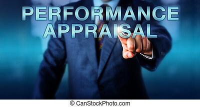 Manager Touching PERFORMANCE APPRAISAL Onscreen - Manager is...