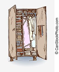 wardrobe closet - vector illustration of wardrobe closet