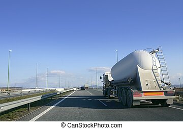 Heavy liquid transportation truck lorry on a road
