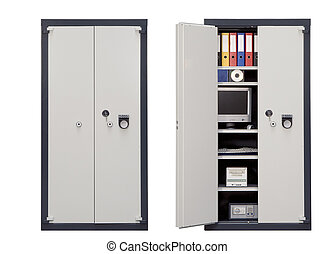 Security Safe Locker closed and open isolated on white...