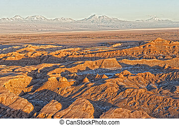 Atacama - Part of the Atacama desert in Chile during sundown