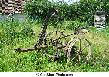 old agricultural machine - horse mower - old agricultural...