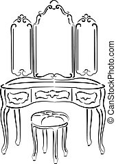 Sketched retro dressing table