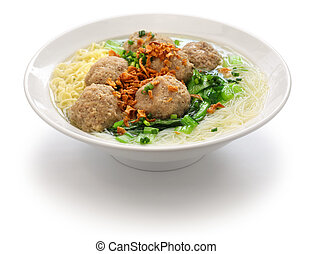 bakso, indonesian meatball soup - bakso, meatball soup with...
