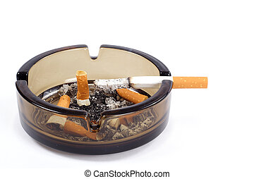 Ash-Tray - A flithy glass ash-tray photo on the white...