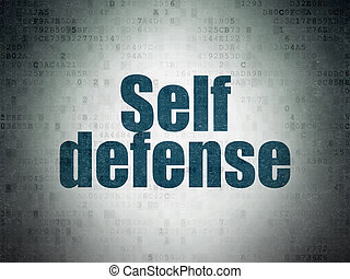 Security concept: Self Defense on Digital Paper background -...