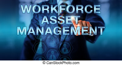 Manager Touching WORKFORCE ASSET MANAGEMENT - Male manager...