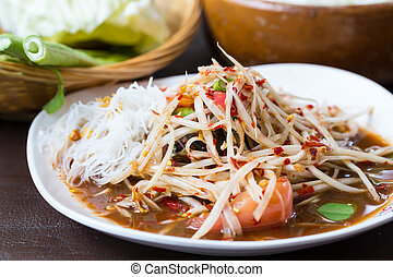 papaya salad, thai food, som tam