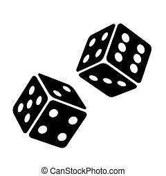 Black Dice Cubes on White Background. Vector
