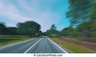 Speedy Driving on a Road in Forest, sunny weather