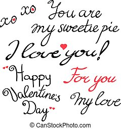 Valentine s Day lettering collection. Set of Valentine s...