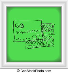 Simple doodle of a bank card - Simple hand drawn doodle of a...