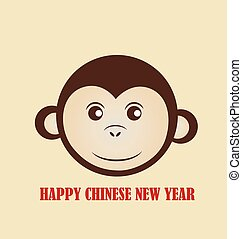 Chinese New Year design with Cute monkeys in traditional chinese background.