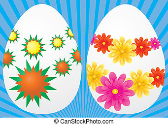 Decorative easter eggs on blue background, vector...