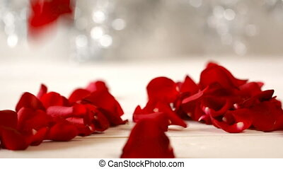 Valentine's Day rose petals falling