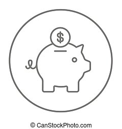 Piggy bank with dollar coin line icon. - Piggy bank with...