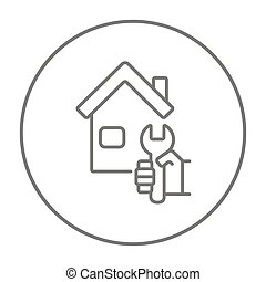 House repair line icon. - House with wrench line icon for...