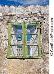 Granary in Combarro - old window in Combarro, Pontevedra,...