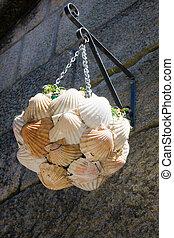 shells lamp in Combarro, Pontevedra, Spain