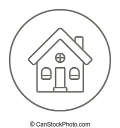 Detached house line icon - Detached house line icon for web,...