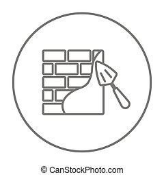 Spatula with brickwall line icon. - Spatula with brickwall...