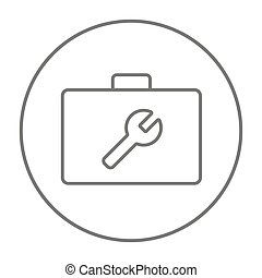 Toolbox line icon. - Toolbox with wrench sign line icon for...